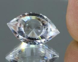 9.62cts VVS Precision Cut Eye Shape Rock Crystal/Clear Quartz from Madagasc