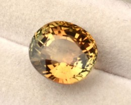 3.30 Carat Fine Oval Cut Orange-Green Bicolored Tourmaline
