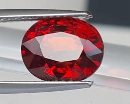 4.85cts, Red Spessartite Garnet,  VVS1  Eye Clean, Untreated,  Calibrated