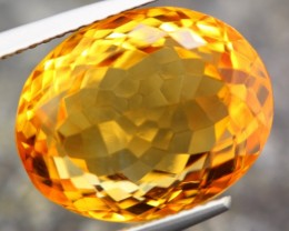 11.70ct NATURAL YELLOW CITRINE FULL SPARKLING OVAL CUT GEMSTONE