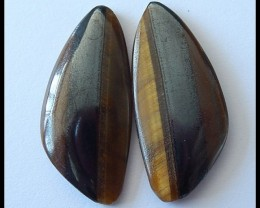 45Ct Natural Tiger Eye Gemstone Cabochon Pair