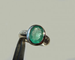 2.02 Colombian Emerald Silver Ring