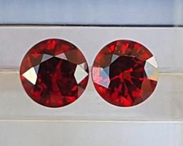 1.8cts, Red Spessartite Garnet Pair,  VVS1  Eye Clean, Untreated