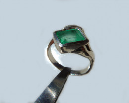 1.81 Colombian Emerald Silver Ring