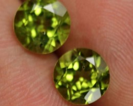 3.30ct PERIDOT PAIR ROUND FACETED FROM PAKISTAN LIME GREEN