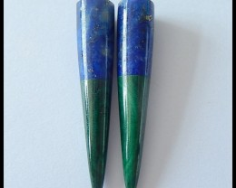 45.5Ct Malachite,Lapis Lazuli Gemstone Intarsia Gemstone Pair