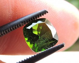 1.25ct CHROME DIOPSIDE CUSHION FACETED GEMSTONE FROM RUSSIA
