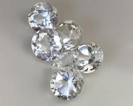 A 6 piece parcel of Top Silver White Topaz Gems 5mm each