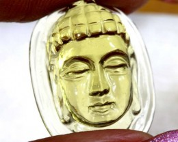 12.6 CTS LEMON QUARTZ BUDDHA HEAD  CARVING  LT- 720