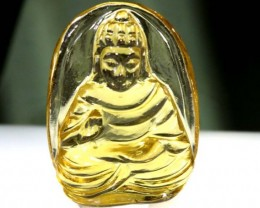 11.65CTS LEMON QUARTZ BUDDHA  CARVING  LT-723