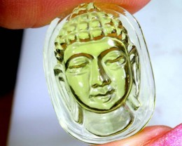 13.25 CTS LEMON QUARTZ BUDDHA HEAD  CARVING  LT- 725