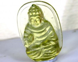 11.95 CTS LEMON QUARTZ BUDDHA CARVING  LT-727