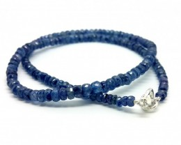 42CM LINE SAPPHIRE BLUE FACETED BEADS NECKLACE 92 CARATS 4X4.5X5MM17