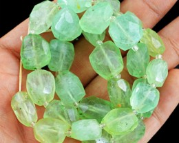 Genuine 343.95 Cts Green Fluorite 14 Inches Faceted Beads Strand