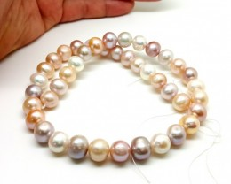 8mm natural fresh water pearl multi-color 315 cts Necklace for collection