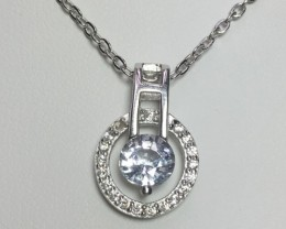 925 Sterling Silver Rhodium Plated Necklaces with 1.08 CTS White Sapphire