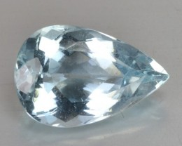2.59 Cts Natural Santa Maria Blue Aquamarine Pear Cut Brazil Gem