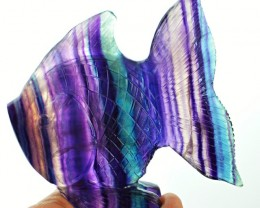 EXCLUSIVE : Multicolor Fluorite Hand Carved Fish