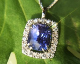 4.60ct colour change sapphire and diamond pendant