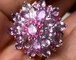 58ct AMETHYST RUBY STERLING SILVER RING SIZE 8