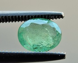 0.75ct EMERALD OVAL FACETED GEMSTONE FROM ZAMBIA
