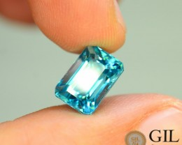 GiL Certified 5.43 ct Natural Blue Zircon Cambodia S.1