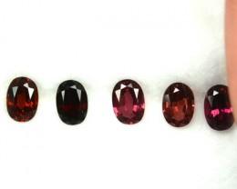 3.52 Cts Natural  Pinkish Red Rhodolite Garnet 5 Pcs African Gem