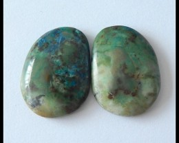 28Ct Natural Chrysocolla Gemstone Cabochon Pair