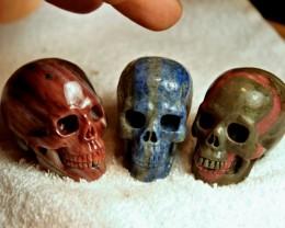 1626.0 Tcw. Matched Lapis, Rhodochrosite, Agate Skulls - Nice ?