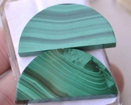 96.60 Carat Matched Pair of Fine Half Moon Cut Malachite