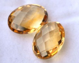 10.81 Carat Matched Pair of Oval Checkerboard Cut Citrine
