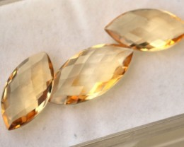 13.59 Carat Matched Trio of Marquise Checkerboard Cut Citrine