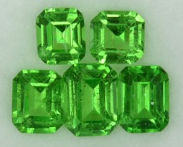 1.77 Cts Natural Green Tsavorite Garnet 5 Pcs Emerald Cut Kenyan Gem