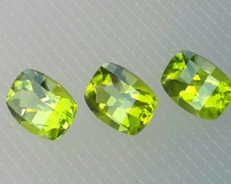 4.50 cts High Best Natural Apple Green Pakistan Peridot- 3 pcs
