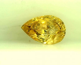 0.20cts Fancy Vivid Orangish Yellow Diamond,100% Natural  Untreated