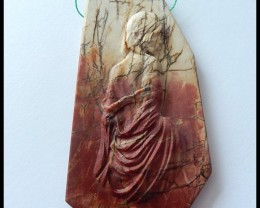 153Ct Handcrafted Natural Picasso Jasper Gemstone Artisian Pendant