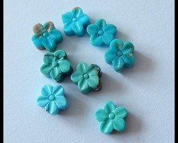 8Pcs Lot!Turquoise Gemstone Flower Carved Cabochons(B1804176)