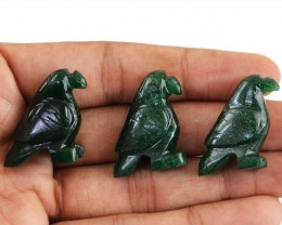 Genuine 145.50 Cts Green Jade Hand Carved Bird Lot
