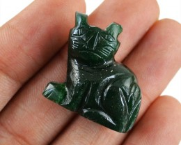 Genuine 56.00 Green Jade Hand Carved Cat