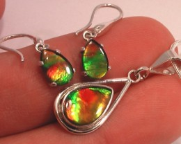 'Hard to find MATCHING' Natural Ammolite Gem quartz capped set BONUS chain