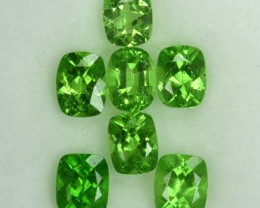 2.00 Cts Natural Green Tsavorite Garnet Cushion Cut 7 Pcs Parcel