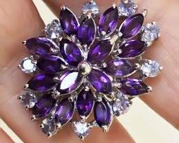 Size 6.5 MARVELLOUS  AMETHYST TANZANITE STERLING SILVER RING