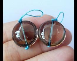 35Ct Natural Smoky Quartz Gemstone Earring Beads