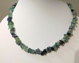 "41 g / 17.5"" FLUORITE Chip Beads Necklace"
