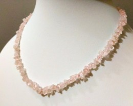 "20 g / 17.5"" ROSE QUARTZ Chip Beads Necklace"