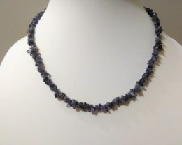 "17 g / 17.5"" IOLITE Chip Beads Necklace"
