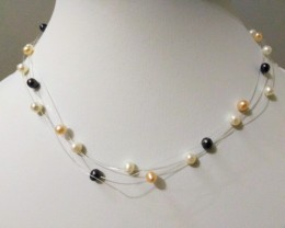 Multi Colour 'Floating' PEARL Necklace