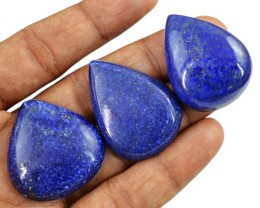 Genuine 147.00 Cts Pear Shape Blue Lapis Lazuli Cab Lot