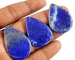 Genuine 77.50 Cts Blue Lapis Lazuli Pear Shape Cab Lot