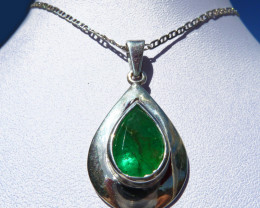 4.28 ct  Colombian Emerald Pendant